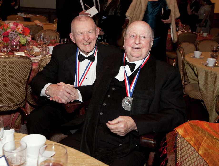 Eugene Krantz and George Mitchell following the History-Making Texan Award presentation at the Texas State History Museum Foundation's Ninth Annual Texas Independence Day Dinner. The event took place at The Bullock Texas State History Museum in Austin on Wednesday, February 27  Texas Independence Day fete at the Bob Bullock State History Museum Photo: Courtesy Photo, Photojournalist