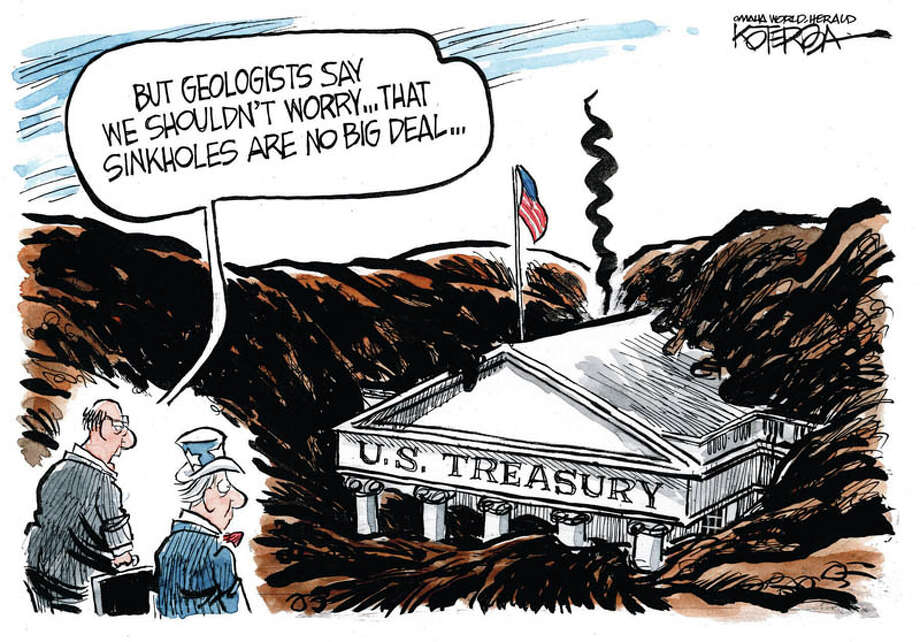 "Jeff Koterba cartoon for March 19, 2013: ""Sinkhole Treasury Budget"""