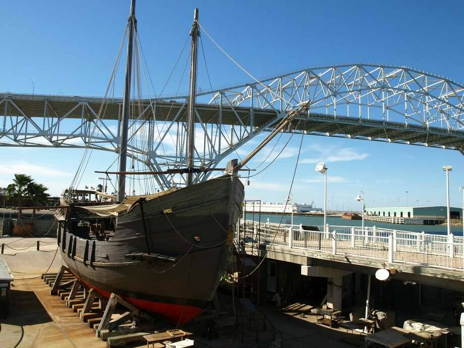 A replica of the La Pinta, one of three ships Christopher Columbus used to cross the Atlantic Ocean and come to the Americas, sits on display at the Corpus Christi Museum of Science and History. Photo: San Antonio Express-News