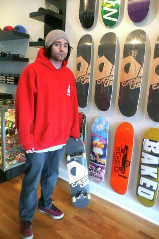 When Joe Garan of Greenwich isn't skateboarding or kiteboarding he's making sure others are outfitted properly to do just that at his Riverside Capsule Boardshop. Photo: Anne W. Semmes