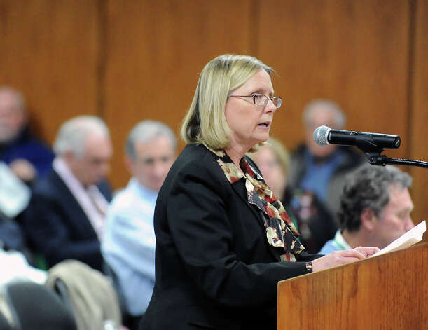 Ellen Murdock of Cos Cob speaks out in favor of the Greenwich Police Department's budget request during the Board of Estimate and Taxation public hearing on the town budget at Greenwich Town Hall, Tuesday, March 19, 2013. Photo: Bob Luckey / Greenwich Time