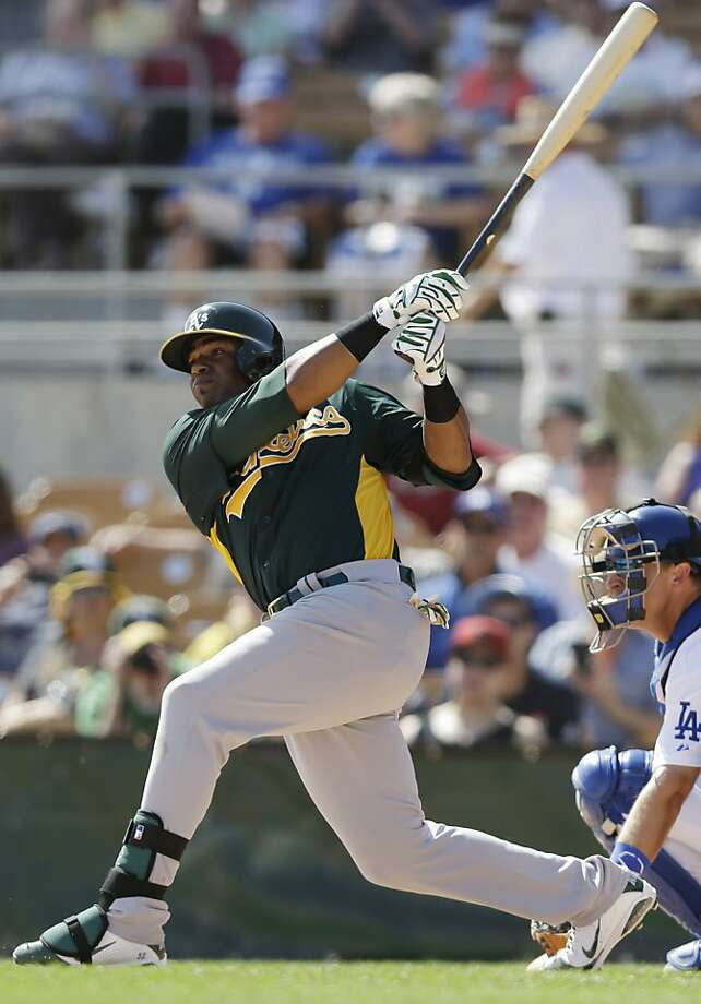 A's outfielder Yoenis Céspedes was hitting .182 before Tuesday, but his fifth-inning homer allayed some concern. Photo: Marcio Jose Sanchez, Associated Press
