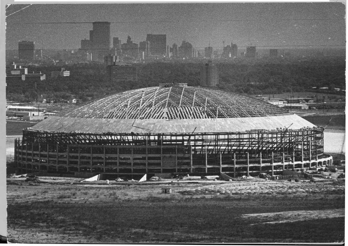 Shown under construction in 1964, the Astrodome was built for Major League Baseball. The future of the Eighth Wonder of the World is in doubt.