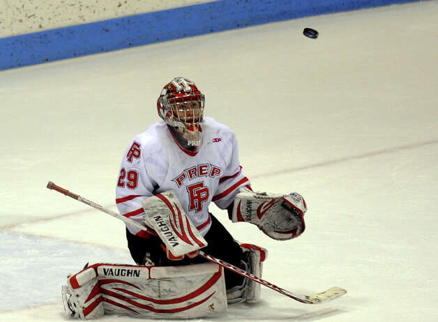 Fairfield Prep goalie #29 Matt Beck tracks the puck, during CIAC Division I boys hockey final action against Notre Dame of West Haven at Ingalls Rink in New Haven, Conn. on March 19, 2013. Photo: Christian Abraham / Connecticut Post