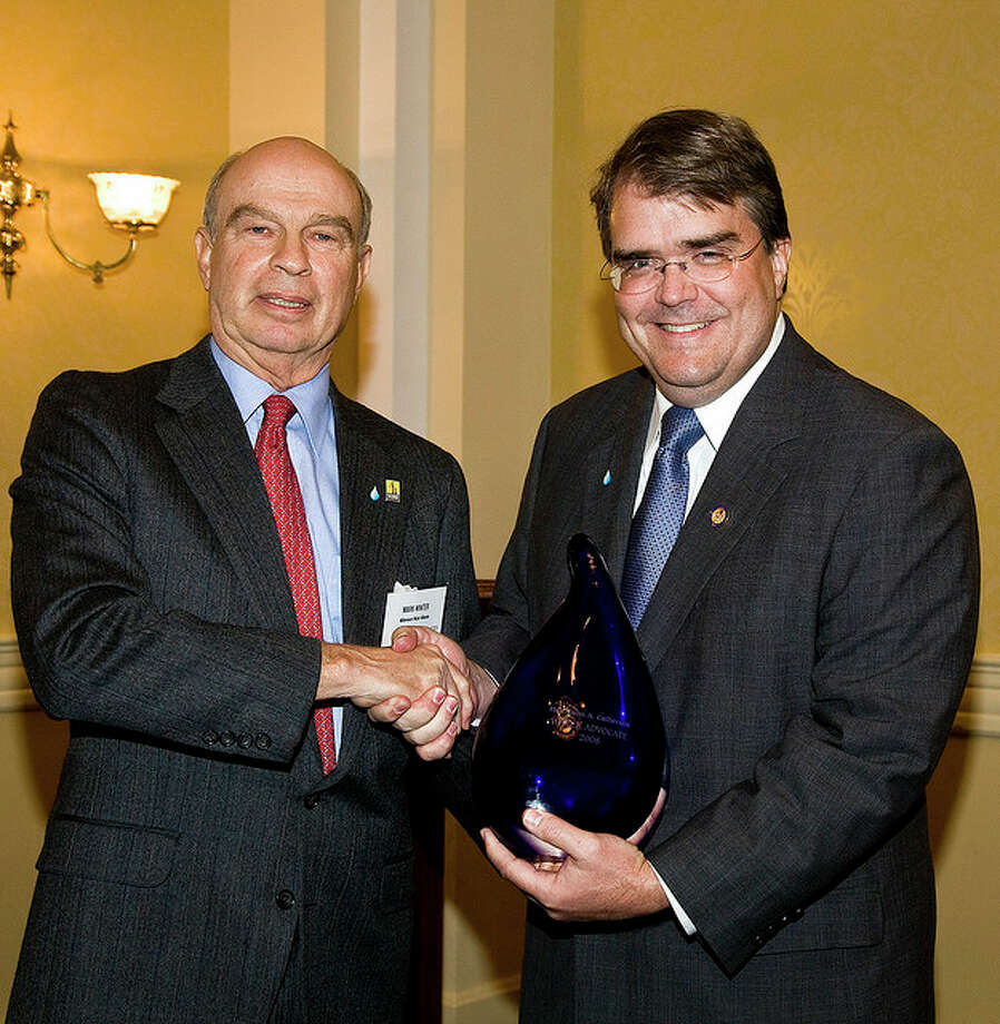 A Drop of Safe Water: Congressman Culberson receives a Water Advocate award for his role in appropriating $300 million to fund the Water for the Poor Act from Mark Winter of Millennium Water Alliance. The funds will be used primarily to deliver safe drinking water and sanitation to people in the developing world. (Water Advocates)