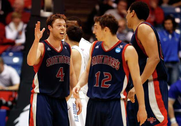 Saint Mary's 67, Middle Tennessee State 54Matthew Dellavedova (L) #4 of the St. Mary's Gaels celebrates with teammates in the first half against the Middle Tennessee Blue Raiders. Photo: Gregory Shamus, Getty Images / 2013 Getty Images