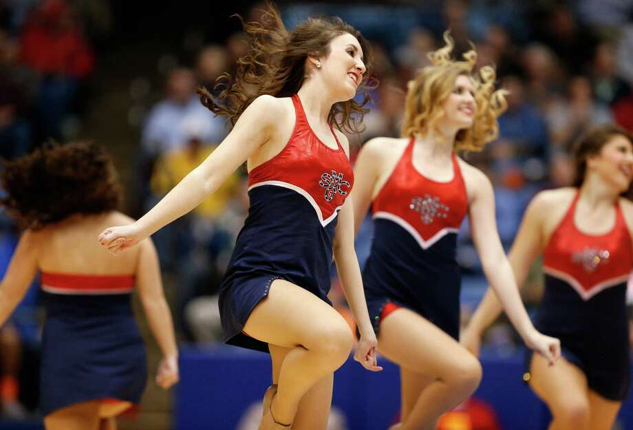 Cheerleaders for the St. Mary's Gaels perform against the Middle Tennessee Blue Raiders during the first round of the 2013 NCAA Men's Basketball Tournament at University of Dayton Arena on March 19, 2013 in Dayton, Ohio. Photo: Gregory Shamus, Getty Images / 2013 Getty Images