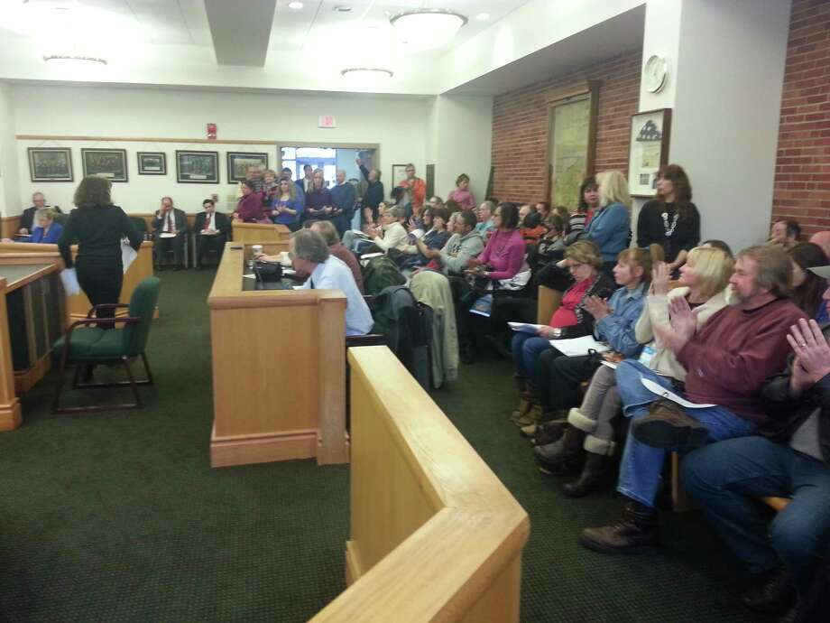 More than 100 persons attended Tuesday's Saratoga County Board of Supervisors meeting in Ballston Spa. About 26 persons spoke about the nomination of Christina Abele, 22, to the job of director of the county's animal shelter. The vote failed. (Dennis Yusko)