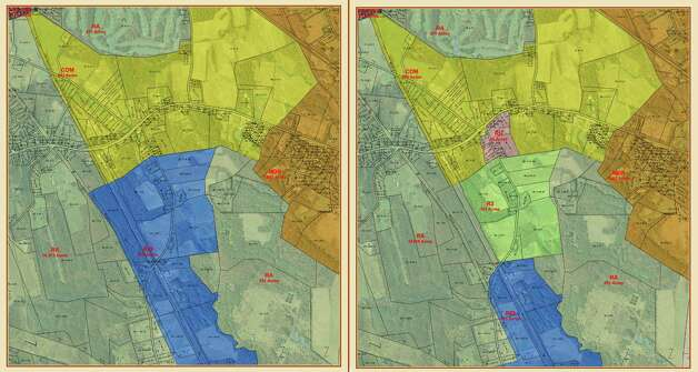 Existing zoning in the town of New Scotland, on the left, and proposed zoning changes, on the right. The town is planning to reduce the amount of acreage zoned for industrial development, illustrated in blue. (Maps courtesy Town of New Scotland)