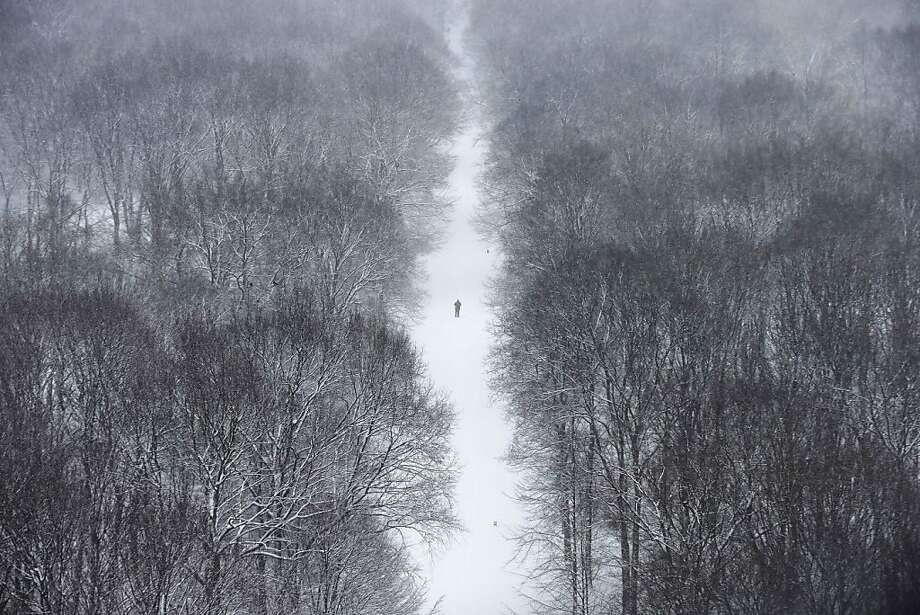 A man walks through the Tiergarten park after fresh snow falls hit Berlin, Germany, Tuesday, March 19, 2013. Unfriendly winter weather continues in northern and eastern Germany on the last day of winter. (AP Photo/Markus Schreiber) Photo: Markus Schreiber, Associated Press