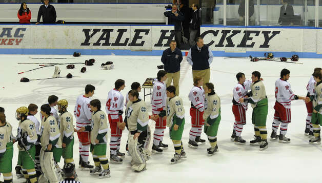 CIAC Division I boys hockey final action between Notre Dame of West Haven and Fairfield Prep at Ingalls Rink in New Haven, Conn. on March 19, 2013. Photo: Christian Abraham / Connecticut Post