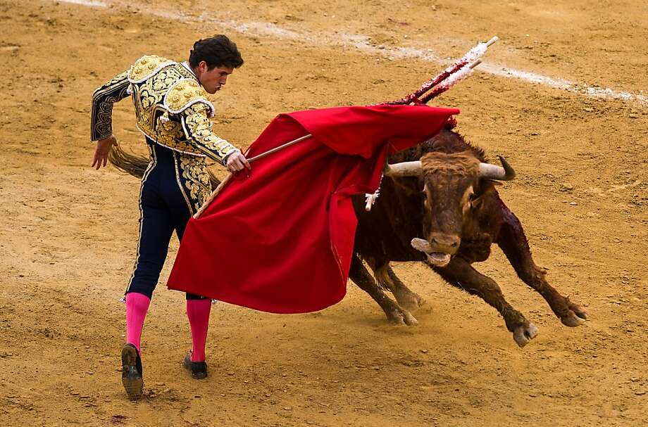 Bullfighter Daniel Luque performs during a bullfight as part of the Las Fallas Festival on March 19, 2013 in Valencia, Spain. The Fallas festival, which runs from March 15 until March 19, celebrates the arrival of spring with fireworks, fiestas and bonfires made from large ninots (puppets).  (Photo by David Ramos/Getty Images) Photo: David Ramos, Getty Images