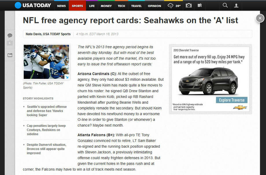 USA TodayLet's begin with USA Today, which came out with its first off-season report cards on Monday. The Seahawks were one of just two teams to earn an ''A'' grade (the other was Minnesota) for their three big moves. ''The Niners should be worried,'' author Nate Davis wrote.