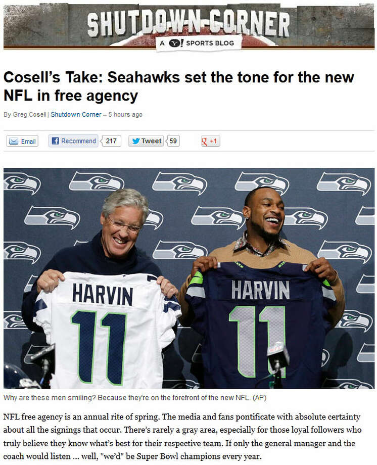 Yahoo Sports' Shutdown CornerYahoo's Greg Cosell went so far as to say the Seahawks are not just cleaning up in free agency, but redefining the game. ''They could well be the model for the NFL of the future,'' Cosell wrote, ''the ideal fusion of Saturday and Sunday football.''