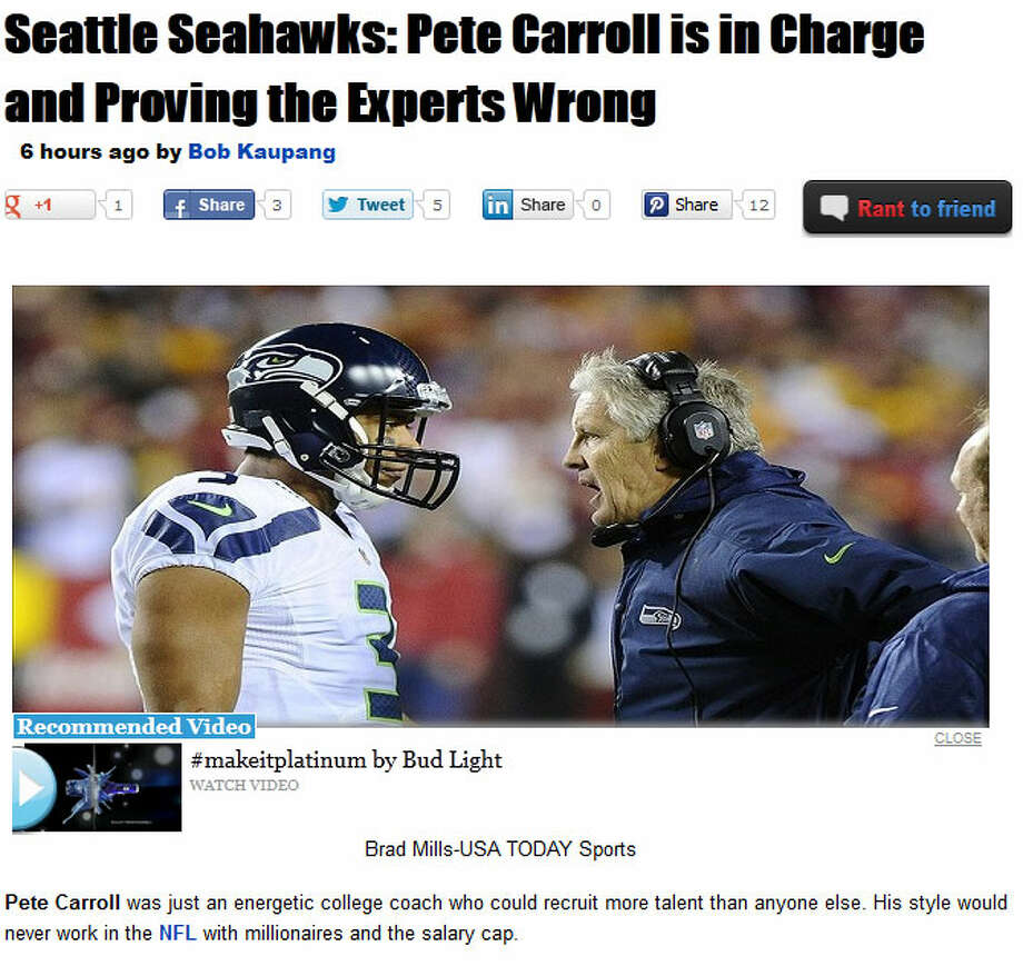 Rant SportsBob Kaupang of Rant Sports went in a different direction, writing about Seahawks head coach Pete Carroll and how he's proving many previously skeptical sports pundits wrong. By working with general manager John Schneider, the two have built the Seahawks up from the NFL basement. ''These are the types of collaborative efforts that have made Carroll and Schneider a dynamic duo,'' Kaupang wrote, ''and a reason the Seahawks are relevant in the NFL again.''