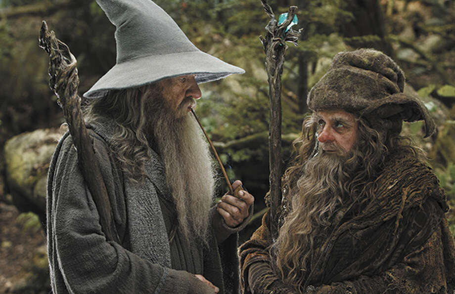Ian McKellen as Gandalf and Sylvester McCoy as Radagast. Photo: Mark Pokorny / ©2012 Warner Bros. Entertainment Inc. and Metro-Goldwyn-Mayer Pictures Inc. (US, Canada & New Line Foreign Territories) © 2012 Metro-Goldwyn-Mayer Pictures Inc. and Warner Bros. Entertainment Inc. (All Other Territories)