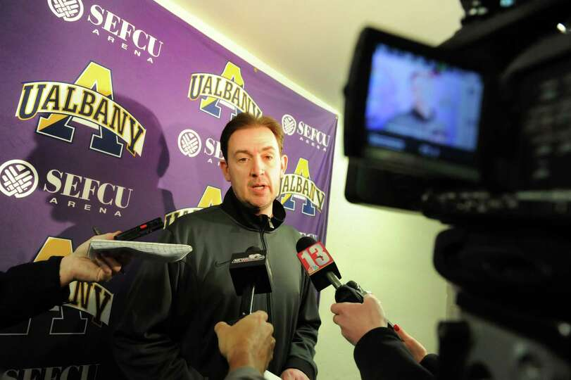 UAlbany's coach Will Brown talks with the media about the upcoming trip to the NCAA Men's Basketball