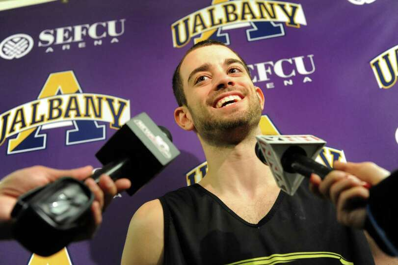 UAlbany's Jacob Iati talks with the media about the upcoming trip to the NCAA Men's Basketball Tourn