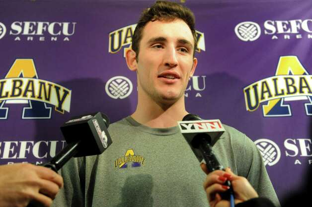 UAlbany's Sam Rowley talks with the media about the upcoming trip to the NCAA Men's Basketball Tournament on Tuesday, March 19, 2013, at UAlbany in Albany , N.Y. (Cindy Schultz / Times Union) Photo: Cindy Schultz / 00021630A