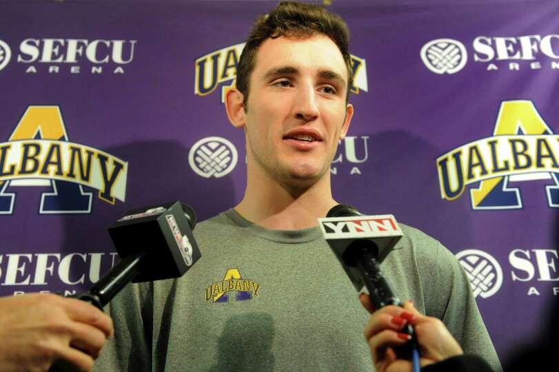 UAlbany's Sam Rowley talks with the media about the upcoming trip to the NCAA Men's Basketball Tourn
