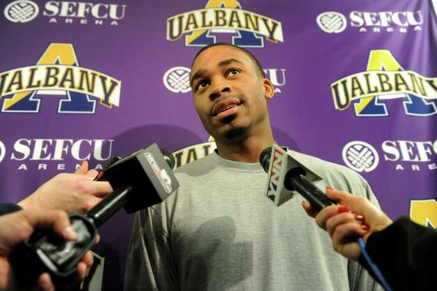 UAlbany's Mike Black talks with the media about the upcoming trip to the NCAA Men's Basketball Tournament on Tuesday, March 19, 2013, at UAlbany in Albany , N.Y. (Cindy Schultz / Times Union) Photo: Cindy Schultz / 00021630A