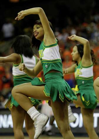 Norfolk State cheerleaders perform during the first half of an NIT college basketball game in Charlottesville, VA., Tuesday, March 19, 2013.  (AP Photo/Steve Helber) Photo: Steve Helber, Associated Press / AP