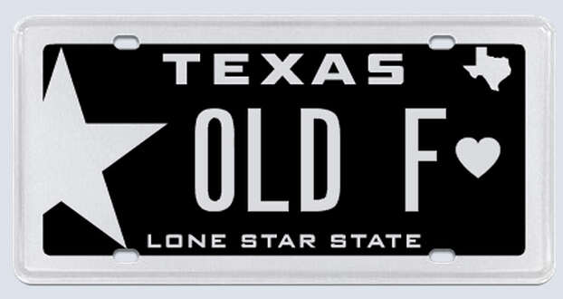 """This plate was rejected by the Texas Department of Motor Vehicles. Applicant's reasoning:""""My personalization was 'Old F' that reads out Old Fart, which may refer to me as a term of endearment, hence the reason I thought it would be great for my Texas license plate.""""  Photo: MyPlates.com"""