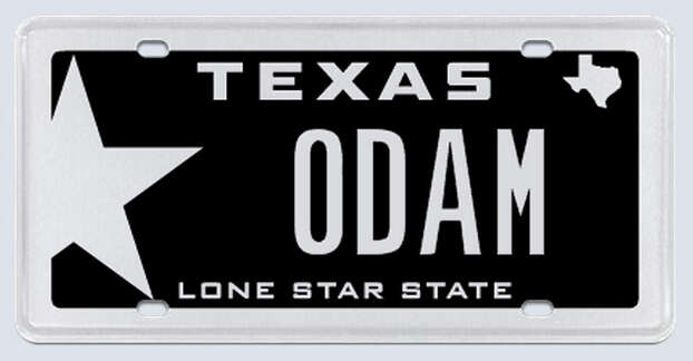"""This plate was rejected by the Texas Department of Motor Vehicles. Applicant's reasoning:""""(The letters) are my initials to my name. (They) have no other hidden meaning.""""  Photo: MyPlates.com"""