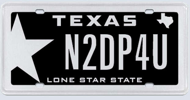 This plate was rejected by the Texas Department of Motor Vehicles. Photo: MyPlates.com