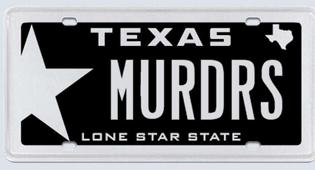 """This plate was rejected by the Texas Department of Motor Vehicles. Applicant's reasoning:""""I have attached a copy of my Texas driver's license and my birth certificate to show that (redacted) is my last name. That is why I have chosen MURDRS for my plates. I am not meaning any harm or threat by my requested plate, simply requesting my name.""""  Photo: MyPlates.com"""