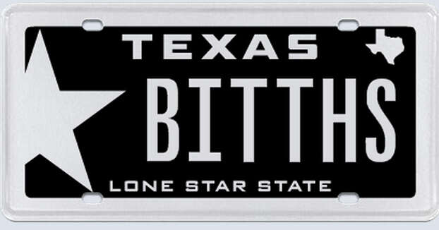 """This plate was rejected by the Texas Department of Motor Vehicles. Applicant's reasoning:""""I am asking on the grounds that I own a 2006 Dodge Viper that I am seeking to enter into car shows and other events. The tag was in no way meant to be derogatory or offense.""""  Photo: MyPlates.com"""