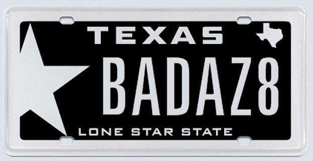 """This plate was rejected by the Texas Department of Motor Vehicles. Applicant's reasoning:""""I just bought a brand new 2011 Dodge Challenger Limited Edition SRT8. BADAZ8 stands for bad as 8. The number stands for 8 in the SRT8.""""  Photo: MyPlates.com"""