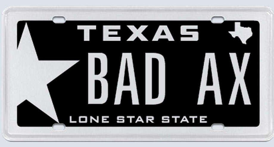 "This plate was rejected by the Texas Department of Motor Vehicles.Applicant's reasoning: ""In this context, Bad means tough. Ax means machine or tool. In the context of the hot rod car world, axes refer to modified cars."" Photo: MyPlates.com"