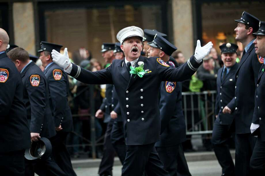 NEW YORK, NY - MARCH 16: Members of the FDNY march on Fifth Avenue during the 252nd annual St. Patrick's Day Parade March 16, 2013 in New York City. The parade honors the patron saint of Ireland and was held for the first time in New York on March 17, 1762, 14 years before the signing of the Declaration of Independence. Photo: Ramin Talaie, Getty Images / 2013 Getty Images