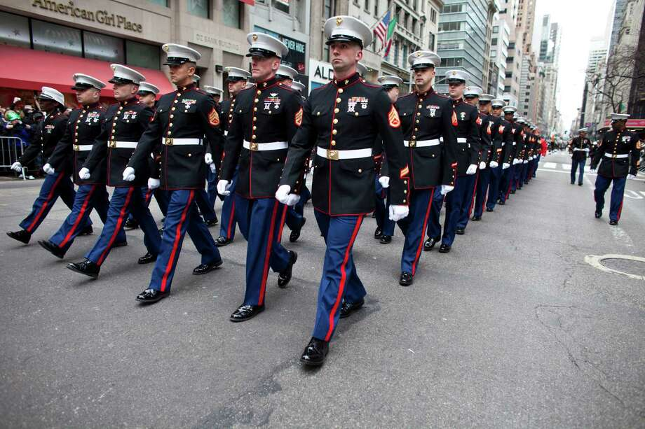 NEW YORK, NY - MARCH 16: U.S. Marines march on Fifth Avenue during the 252nd annual St. Patrick's Day Parade March 16, 2013 in New York City. The parade honors the patron saint of Ireland and was held for the first time in New York on March 17, 1762, 14 years before the signing of the Declaration of Independence. Photo: Ramin Talaie, Getty Images / 2013 Getty Images