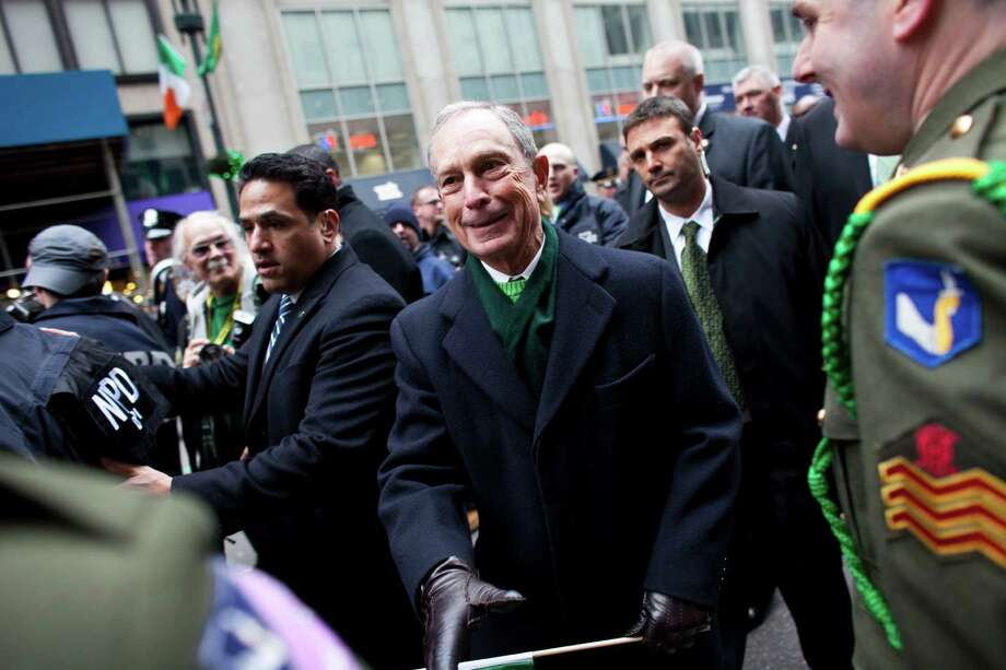 NEW YORK, NY - MARCH 16: New York City Mayor Michael Bloomberg shakes hands with members of Irish 58th infantry regiment during the 252nd annual St. Patrick's Day Parade March 16, 2013 in New York City. The parade honors the patron saint of Ireland and was held for the first time in New York on March 17, 1762, 14 years before the signing of the Declaration of Independence. Photo: Ramin Talaie, Getty Images / 2013 Getty Images