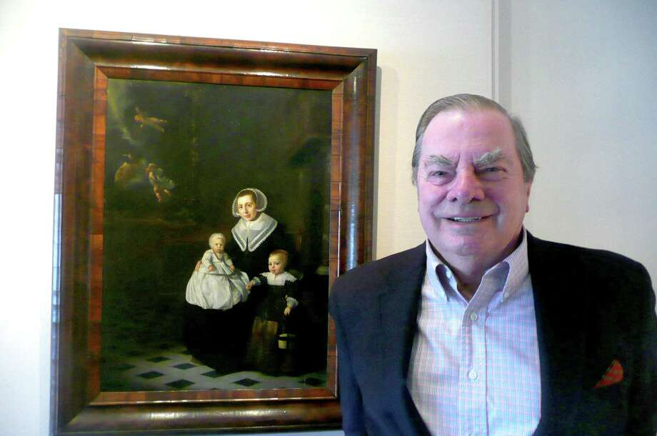 Seniority subject and Greenwich resident Peter Schieferdecker, who grew up in Holland, stands by a favorite Dutch painting. Photo: Anne W. Semmes