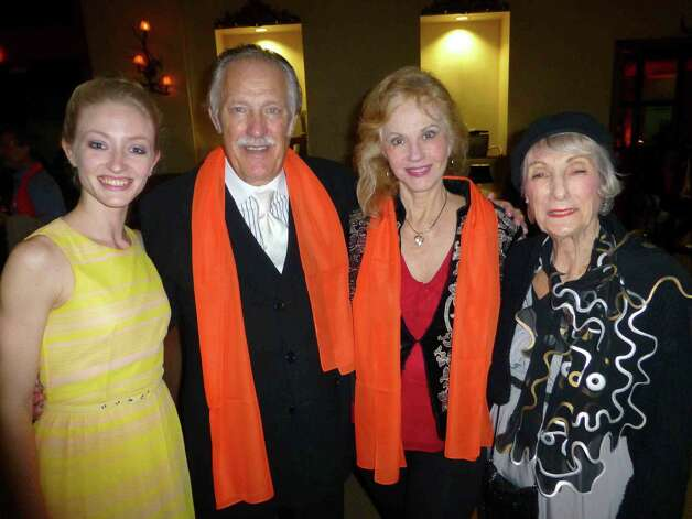 Sarah Aujon (from left), principal dancer of Ballet San Antonio, visits with Dan Dupre, Sherron Huffman and Polly Lou Livingston at the Joffrey Ballet cast party. Photo: Nancy Cook-Monroe / For The Express-News