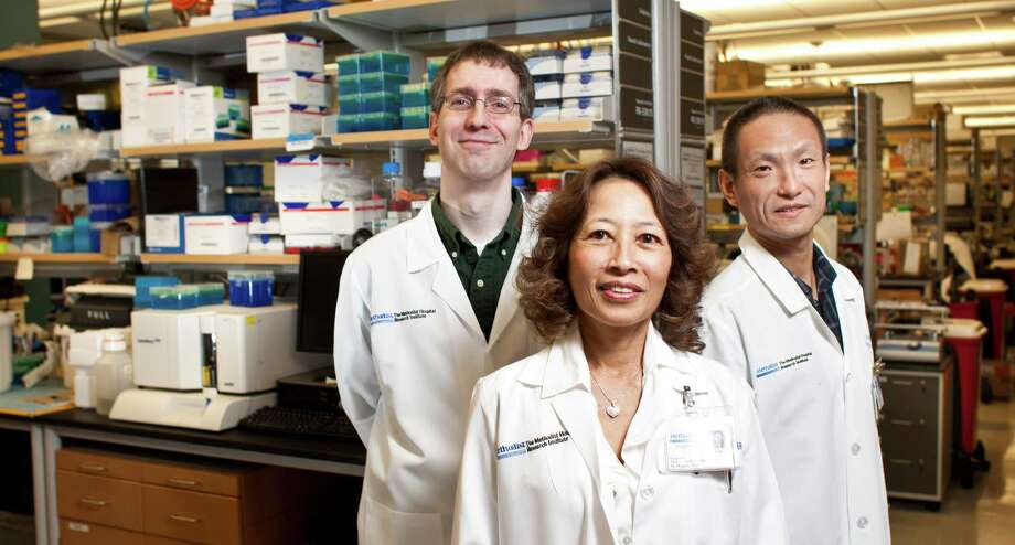 Christopher J. Lyon, from left, Willa A. Hsueh and Tuo Deng of the Methodist Diabetes and Metabolism Institute are working on a vaccine designed to reduce the production of inflamed fat cells, which are linked to the development of diabetes. Photo: Nick De La Torre, Staff / © 2013 Houston Chronicle