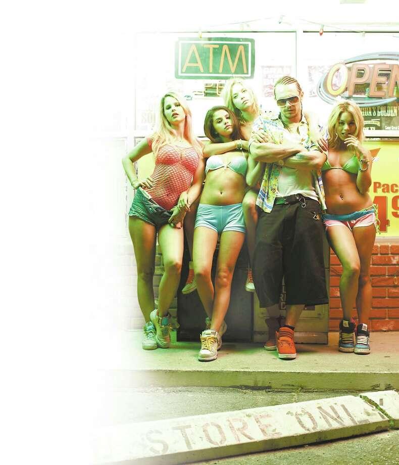 "Rachel Korine (from left), Selena Gomez, Ashley Benson, James Franco and Vanessa Hudgens star in ""Spring Breakers."" Photo: Courtesy Photo"