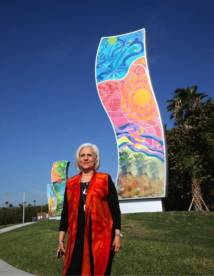 "San Antonio artist Michelle Newman designed a public art project with six colorful, symbolic columns that acts as the ""gateway"" to the coastal city of Delray Beach, Fla. Photo: Photo By Javier Carrion"