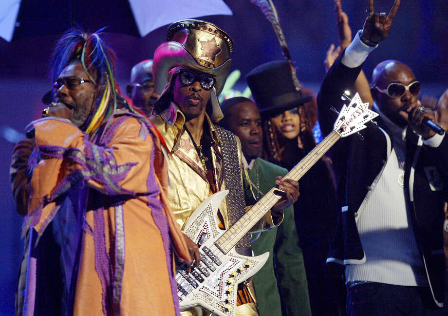 George Clinton, left, and Bootsy Collins, second from left, lead a tribute to funk during the 46th Annual Grammy Awards, Sunday, Feb. 8, 2004, in Los Angeles. Photo: KEVORK DJANSEZIAN, AP / AP