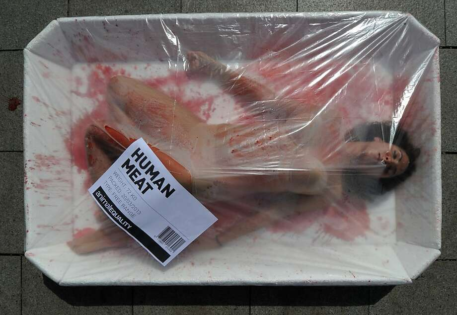 Kick the flesh habit: In Barcelona, an Animal Equality activist lies in a giant meat packaging tray to protest the consumption of animals. March 20 was global meat-free day. Photo: Lluis Gene, AFP/Getty Images
