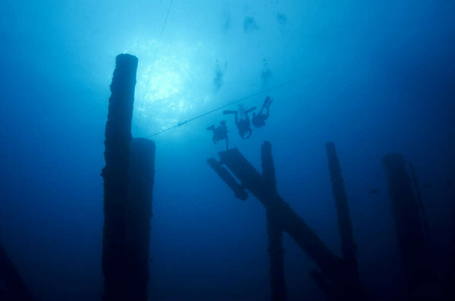 A group of divers examine artificial reefs made from decommissioned rigs in the Gulf of Mexico.