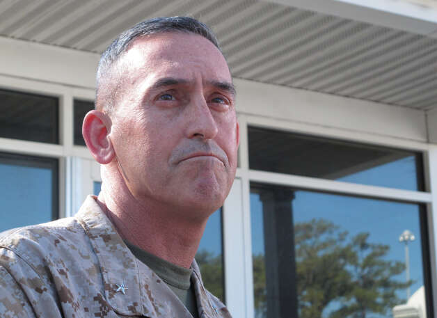 Marine Brig. Gen. Jim Lukeman address the media outside the gates of Camp Lejeune, N.C., on Tuesday, March 19, 2013. Seven Marines from the base were killed in a mortar accident in Nevada Monday night. (AP Photo/Allen Breed) Photo: Allen Breed, AP / Associated Press