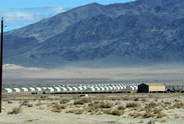 Bunkers are seen at the Hawthorne Army Depot on Tuesday, March 19, 2013, where seven Marines were killed and several others seriously injured in a training accident Monday night, about 150 miles southeast of Reno in Nevada's high desert. (AP Photo/Scott Sonner) Photo: AP