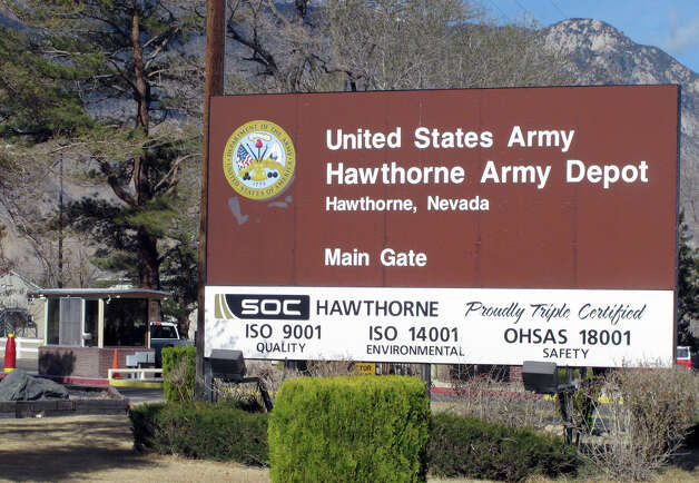 The main gate is seen at the Hawthorne Army Depot on Tuesday, March 19, 2013, where seven Marines were killed and several others seriously injured in a training accident Monday night, about 150 miles southeast of Reno in Nevada's high desert. (AP Photo/Scott Sonner) Photo: AP