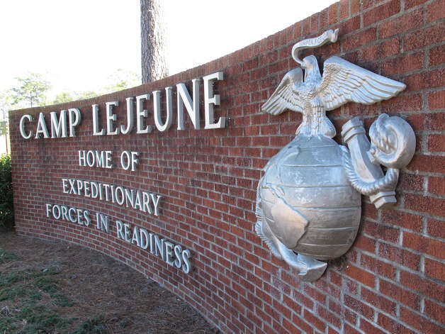 The globe and anchor stand at the entrance to Camp Lejeune, N.C., on Tuesday, March 19, 2013. Seven Marines from the base were killed in a mortar accident in Nevada Monday night. (AP Photo/Allen Breed) Photo: Allen Breed, AP / Associated Press
