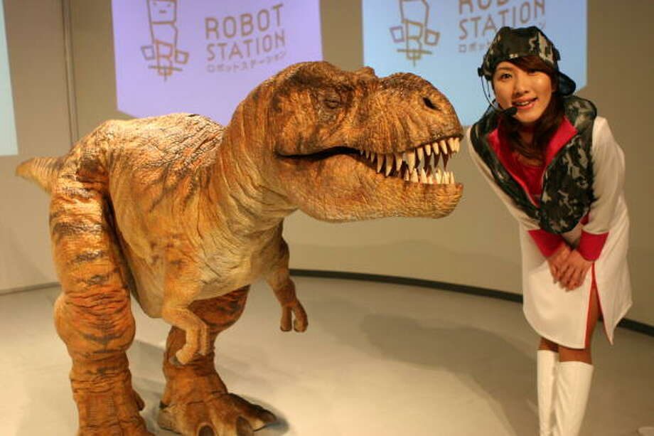 A walking tyrannosaurus robot is seen during the press day of the Aichi Expo 2005 on March 18, 2005 in Nagakute, Japan. Aichi Expo 2005  will be opened to public from May 25 to September 25, 2005. Photo: Koichi Kamoshida, Getty / 2005 Getty Images