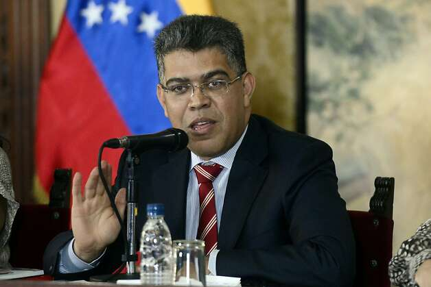 Venezuelan foreign Minister Elias Jaua speaks during a press conference in Caracas, on March 20, 2013. Venezuelan diplomats Camacaro Victor Olivares Mata and Orlando Montañez, who were ousted by the United States for retaliation against Venezuela, were decorated by Jaua with the Francisco de Miranda Order. AFP PHOTO/Leo RAMIREZLEO RAMIREZ/AFP/Getty Images Photo: Leo Ramirez, AFP/Getty Images